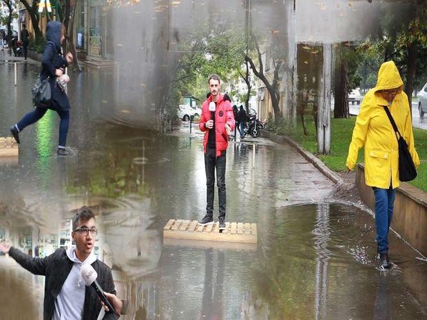 Bakıya yağış yağanda - VİDEO