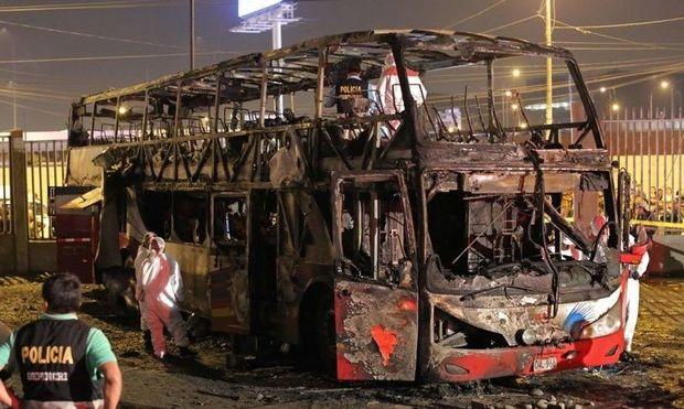Peruda avtobusda faciə - Sərnişinlər diri-diri yandı