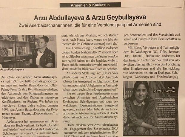 Erməni-Alman Cəmiyyətinin jurnalında iki Arzu
