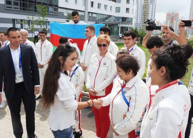 Leyla Əliyeva II Avropa Oyunlarında iştirak edən idmançılarımızla görüşdü - FOTO