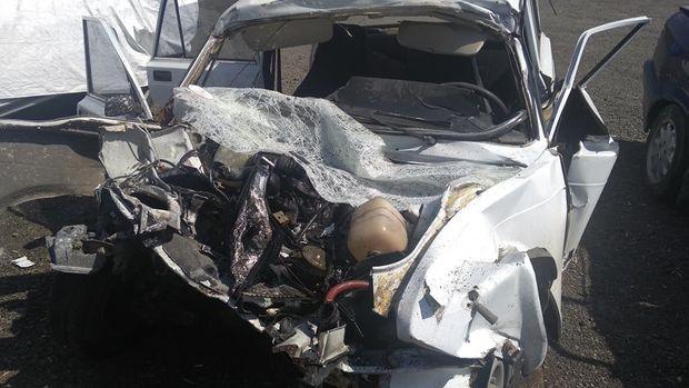 Masallıda ağır qəza: polis kapitanı öldü - FOTO