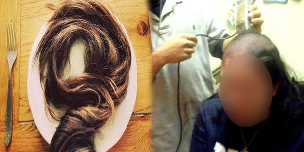 Картинки по запросу мужчина обрил голову жены из-за найденного в еде волос