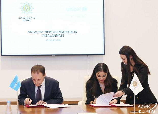 Heydər Əliyev Fondu ilə UNİCEF arasında Anlaşma Memorandumu imzalanıb - FOTO