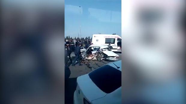 Aeroport yolunda dəhşətli qəza: İki nəfər öldü - VİDEO
