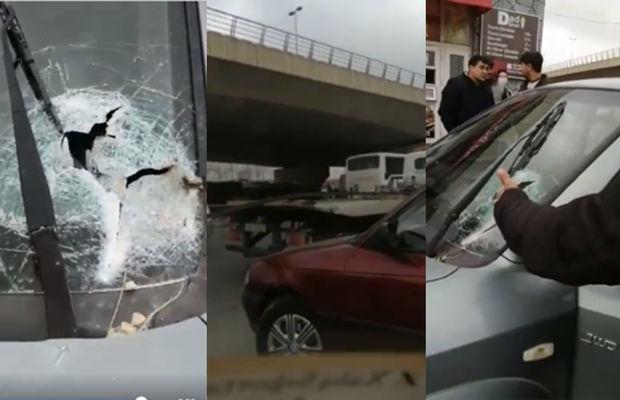 Bakıda dəhşət: Evakuatorun üstündəki dəmir sürüşüb başqa maşının şüşəsindən içəri girdi - VİDEO