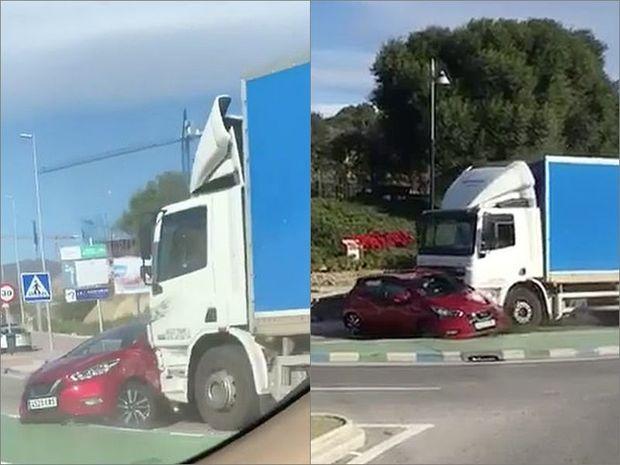 TIR sürücüsü vurduğu maşını metrlərlə sürüdü - VİDEO