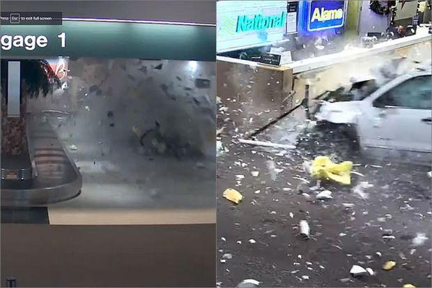 Polisdən qaçarkən aeroportun yük bölməsinə girdi - VİDEO