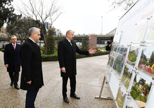İlham Əliyev Bakının daha bir parkında aparılan yenidənqurma işləri ilə tanış oldu - Foto